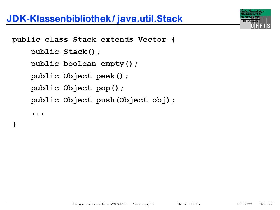 JDK-Klassenbibliothek / java.util.Stack