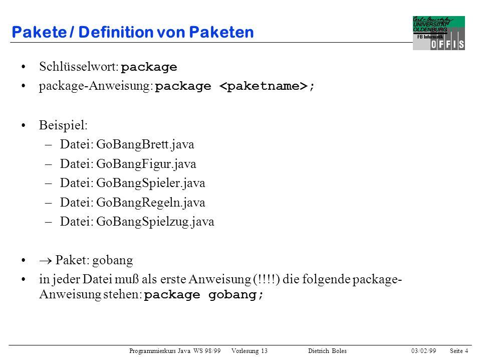 Pakete / Definition von Paketen