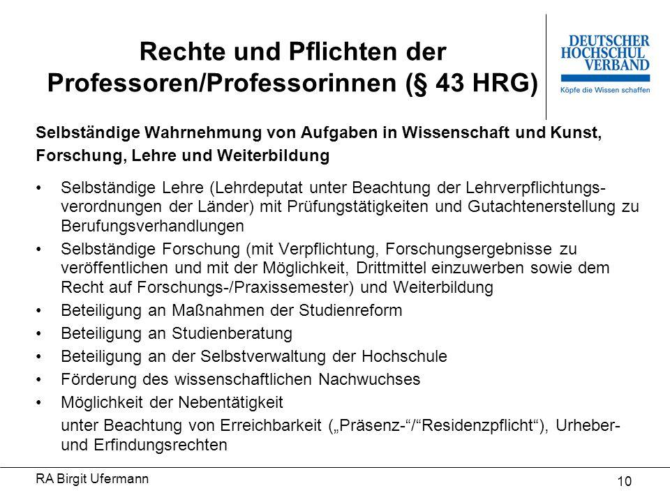Rechte und Pflichten der Professoren/Professorinnen (§ 43 HRG)