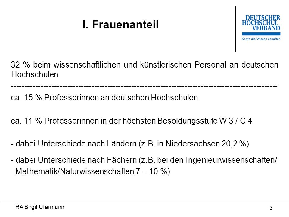 I. Frauenanteil 32 % beim wissenschaftlichen und künstlerischen Personal an deutschen Hochschulen.