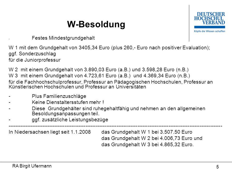 W-Besoldung - Festes Mindestgrundgehalt. W 1 mit dem Grundgehalt von 3405,34 Euro (plus 260,- Euro nach positiver Evaluation);