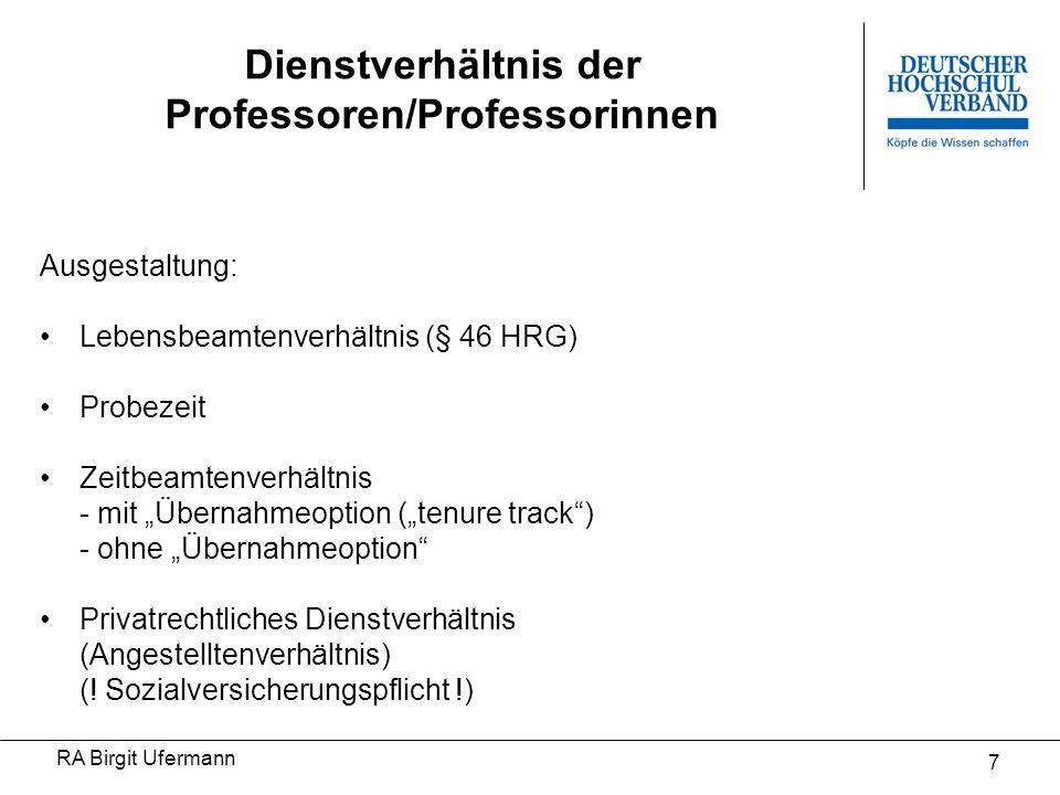 Dienstverhältnis der Professoren/Professorinnen