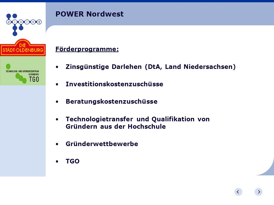 POWER Nordwest Förderprogramme:
