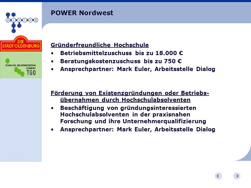 POWER Nordwest Gründerfreundliche Hochschule