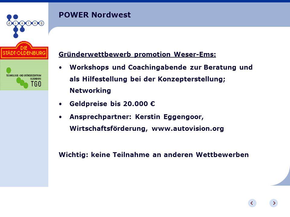 POWER Nordwest Gründerwettbewerb promotion Weser-Ems: