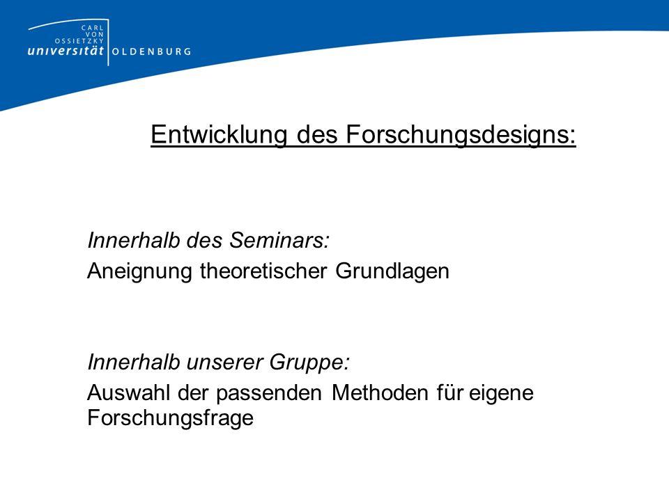 Entwicklung des Forschungsdesigns: