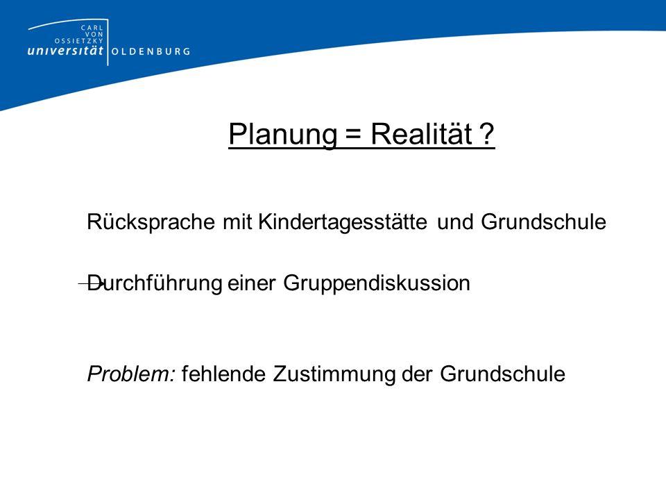 Planung = Realität Rücksprache mit Kindertagesstätte und Grundschule