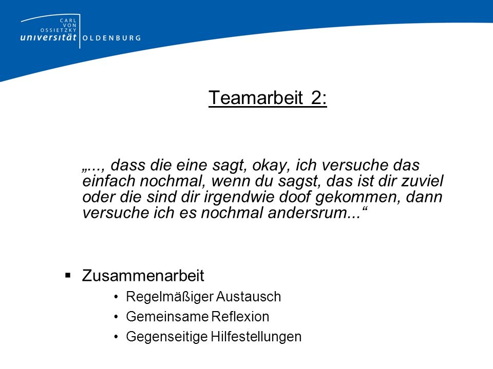 Teamarbeit 2: