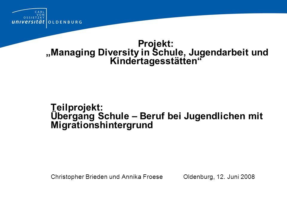 """Projekt: """"Managing Diversity in Schule, Jugendarbeit und Kindertagesstätten"""