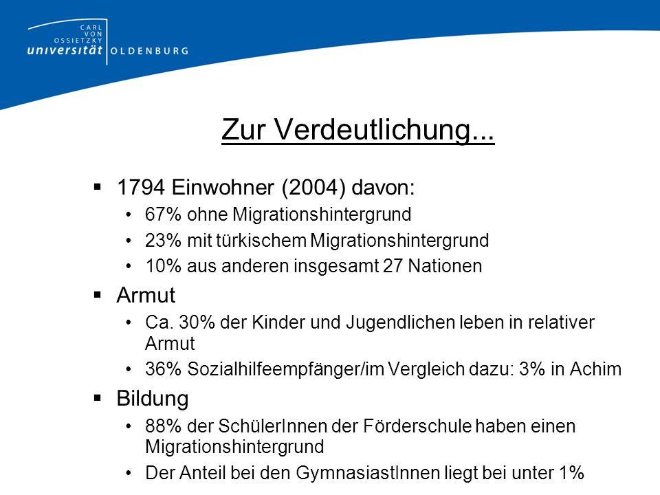 Zur Verdeutlichung... 1794 Einwohner (2004) davon: Armut Bildung