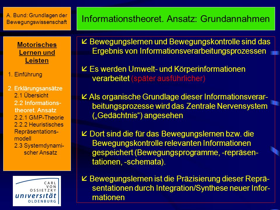 Informationstheoret. Ansatz: Grundannahmen
