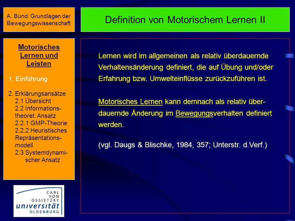 Definition von Motorischem Lernen II