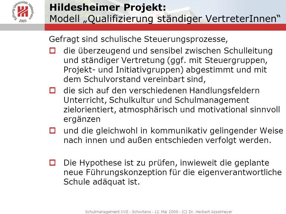 """Hildesheimer Projekt: Modell """"Qualifizierung ständiger VertreterInnen"""