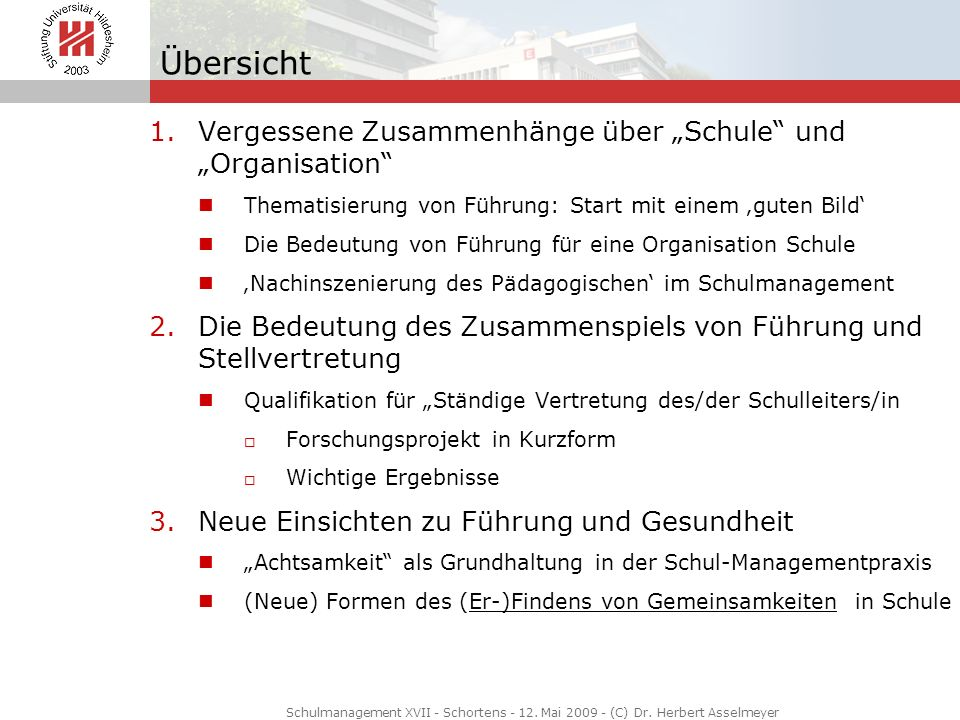 """Übersicht Vergessene Zusammenhänge über """"Schule und """"Organisation"""