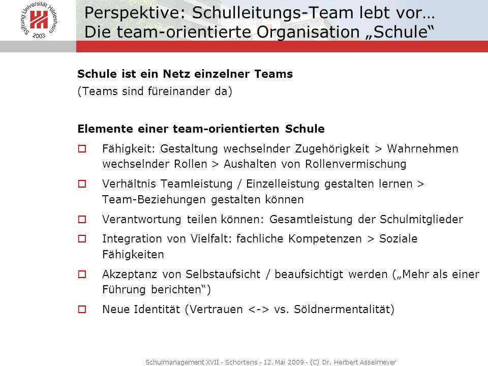 """Perspektive: Schulleitungs-Team lebt vor… Die team-orientierte Organisation """"Schule"""