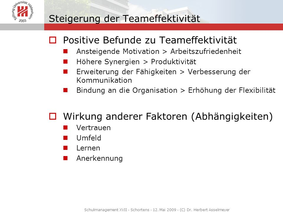 Steigerung der Teameffektivität