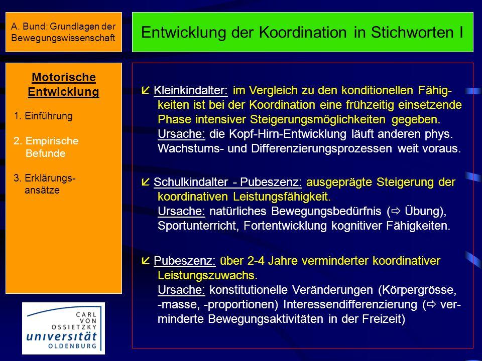Entwicklung der Koordination in Stichworten I