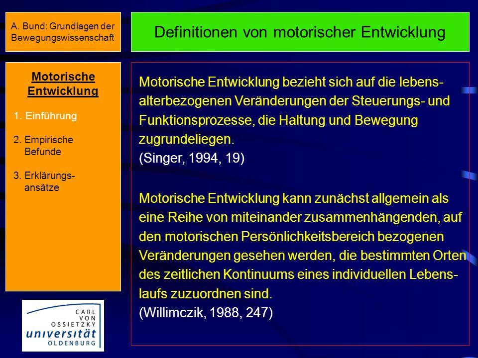 Definitionen von motorischer Entwicklung