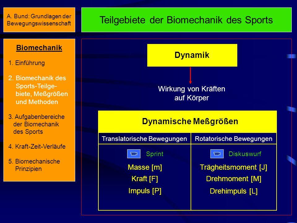 Teilgebiete der Biomechanik des Sports