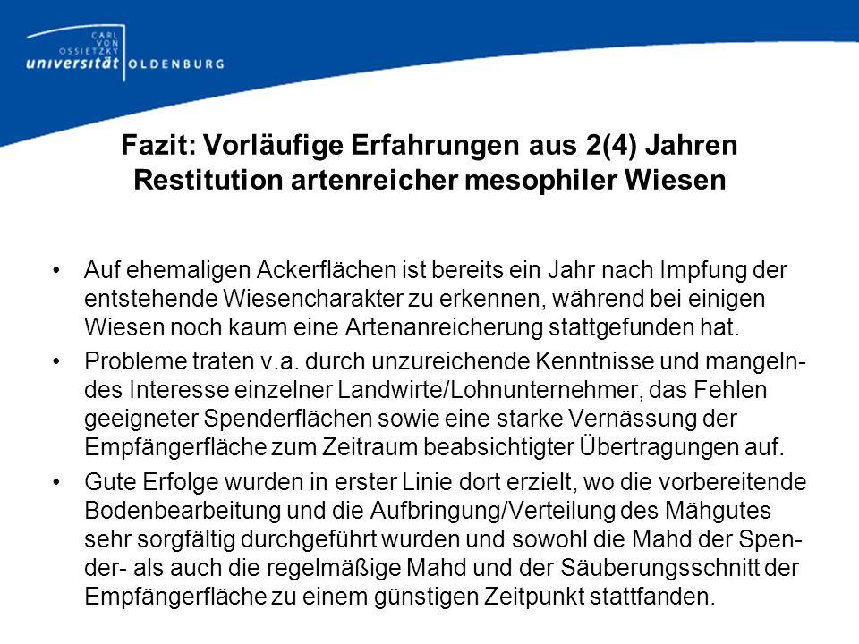 Fazit: Vorläufige Erfahrungen aus 2(4) Jahren Restitution artenreicher mesophiler Wiesen