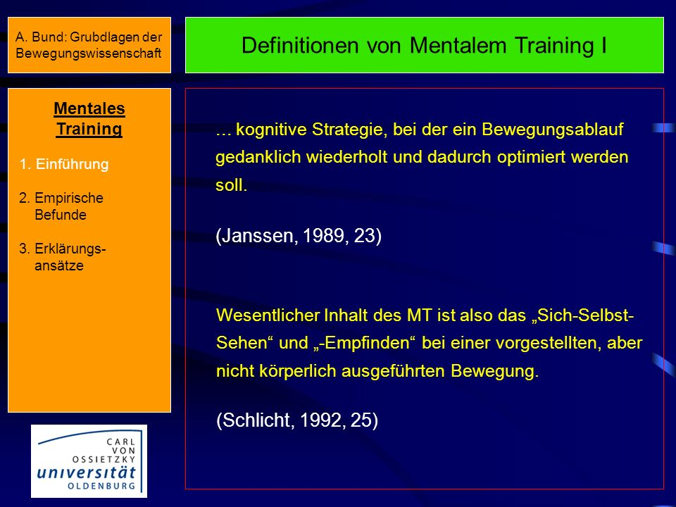 Definitionen von Mentalem Training I