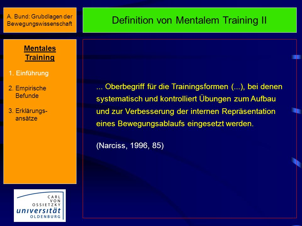 Definition von Mentalem Training II