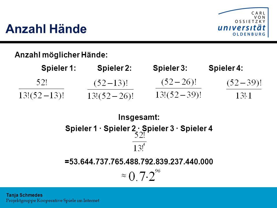 Anzahl Hände Anzahl möglicher Hände: