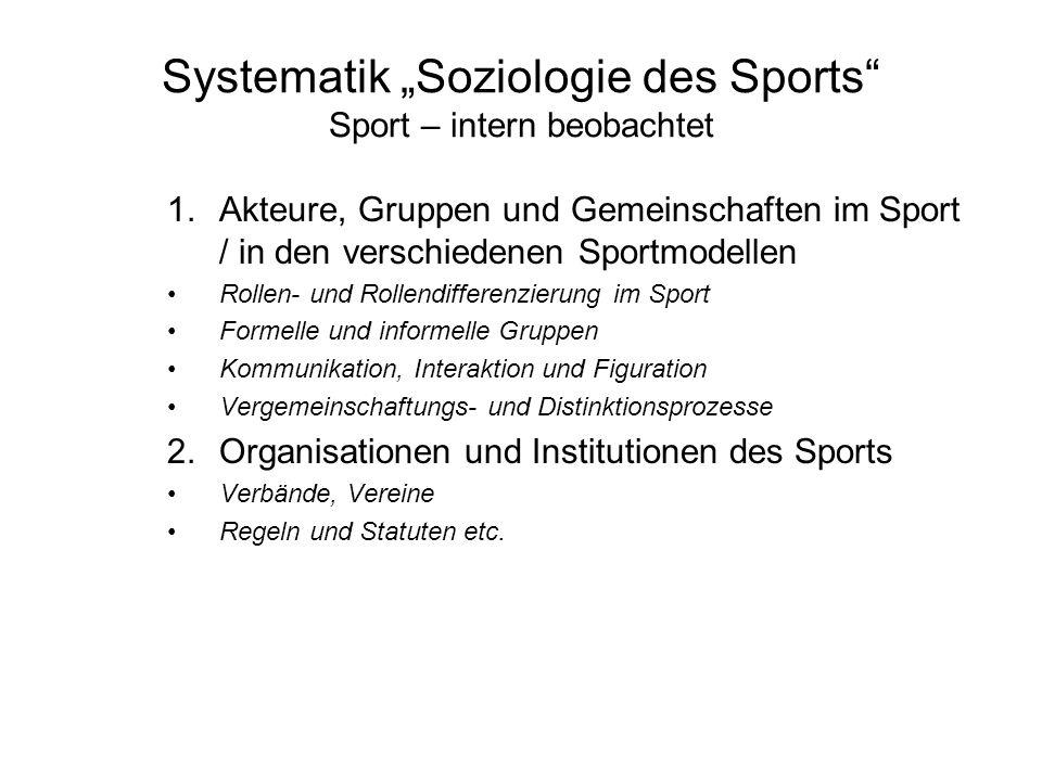 """Systematik """"Soziologie des Sports Sport – intern beobachtet"""