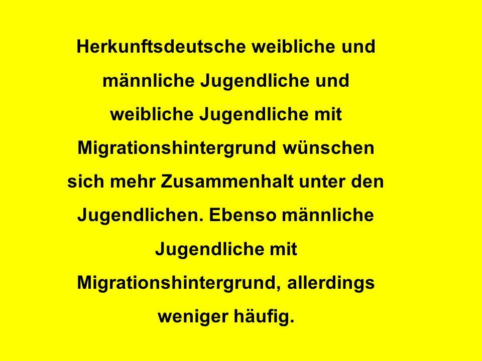 Herkunftsdeutsche weibliche und männliche Jugendliche und weibliche Jugendliche mit Migrationshintergrund wünschen sich mehr Zusammenhalt unter den Jugendlichen.
