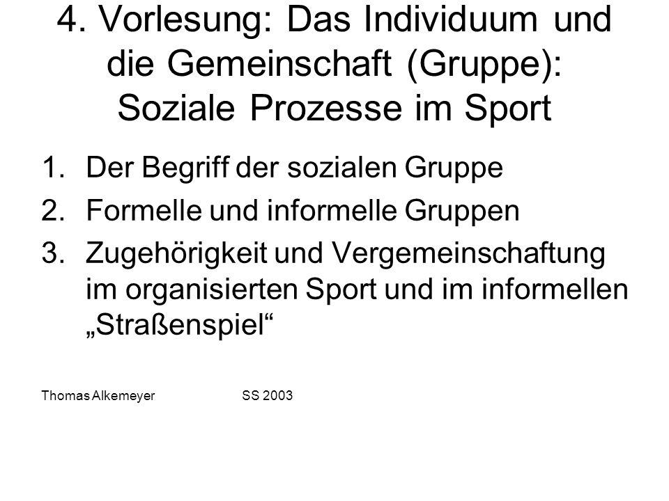 4. Vorlesung: Das Individuum und die Gemeinschaft (Gruppe): Soziale Prozesse im Sport