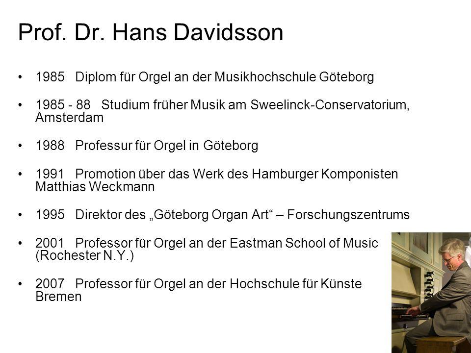 Prof. Dr. Hans Davidsson 1985 Diplom für Orgel an der Musikhochschule Göteborg.