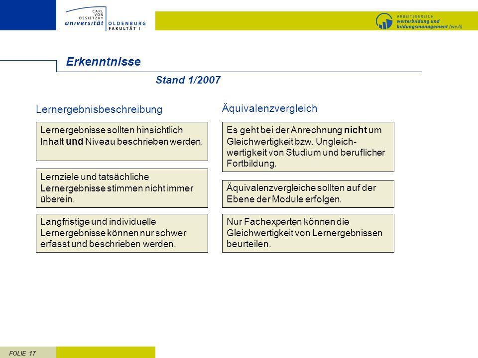 Erkenntnisse Stand 1/2007 Lernergebnisbeschreibung Äquivalenzvergleich