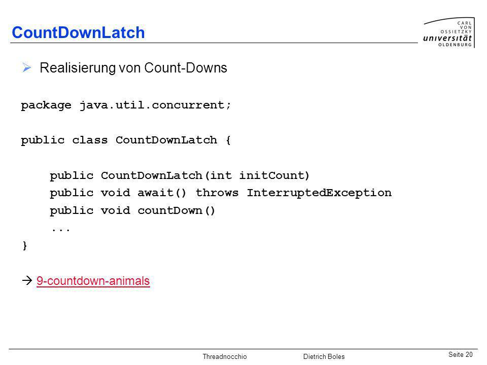 CountDownLatch Realisierung von Count-Downs