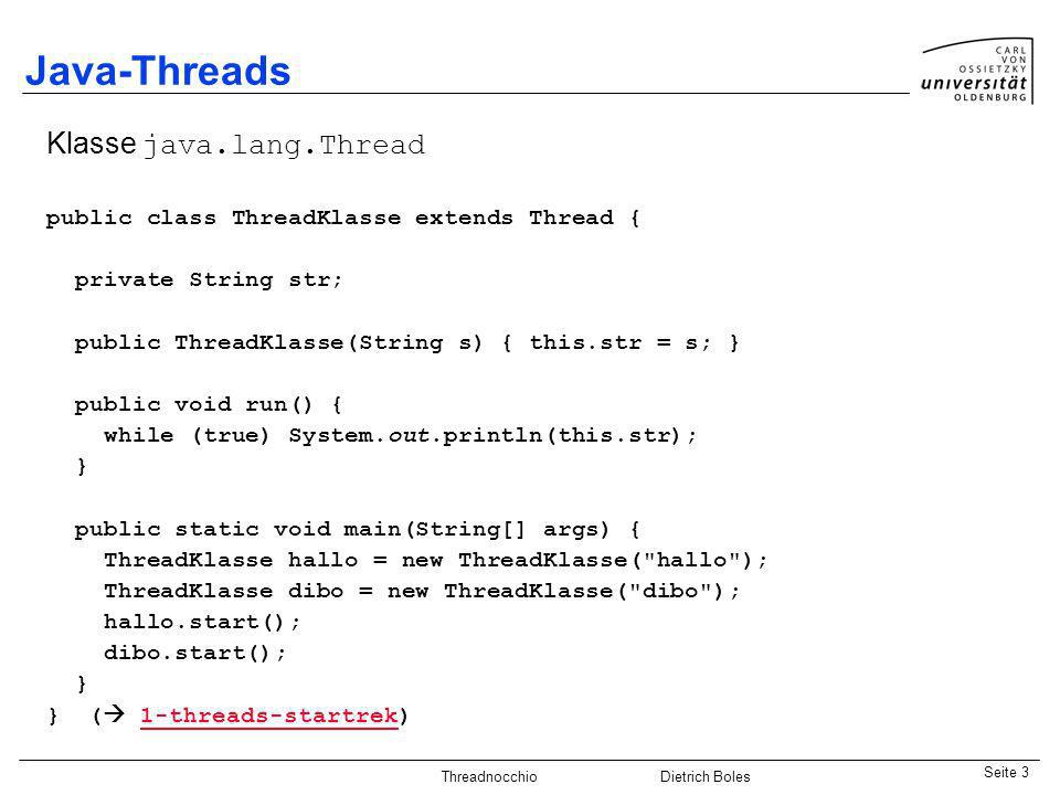 Java-Threads Klasse java.lang.Thread