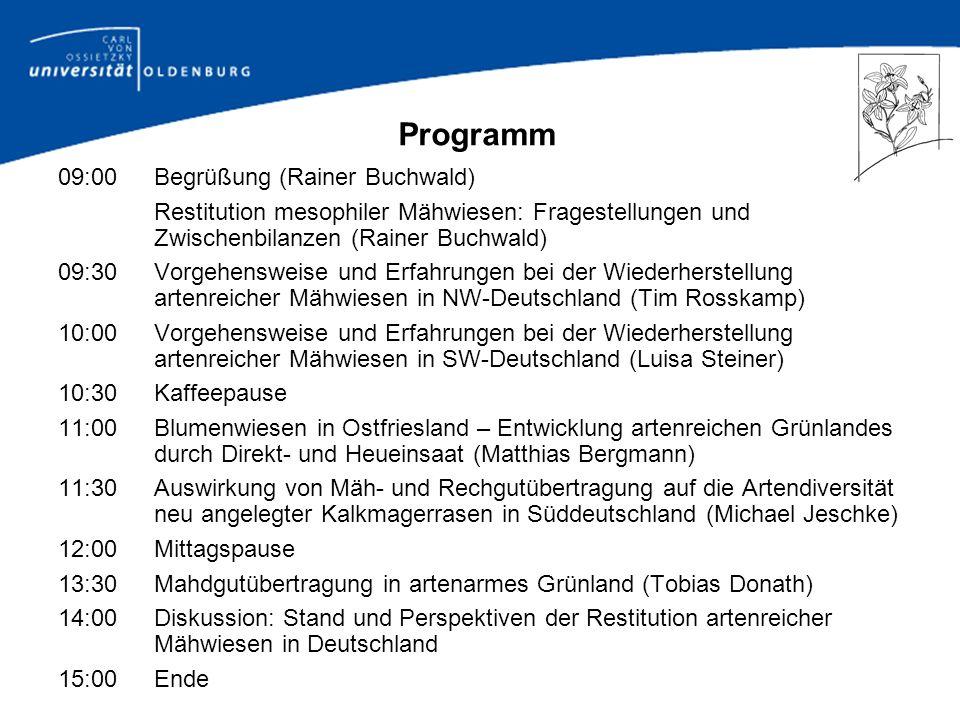 Programm 09:00 Begrüßung (Rainer Buchwald)