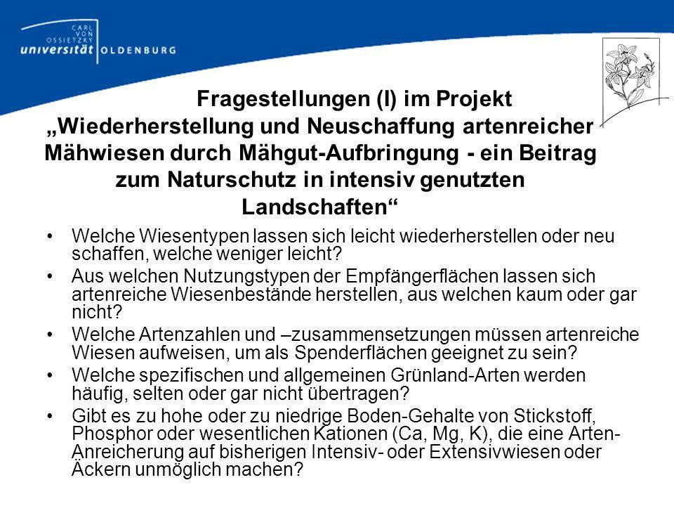 """Fragestellungen (I) im Projekt """"Wiederherstellung und Neuschaffung artenreicher Mähwiesen durch Mähgut-Aufbringung - ein Beitrag zum Naturschutz in intensiv genutzten Landschaften"""