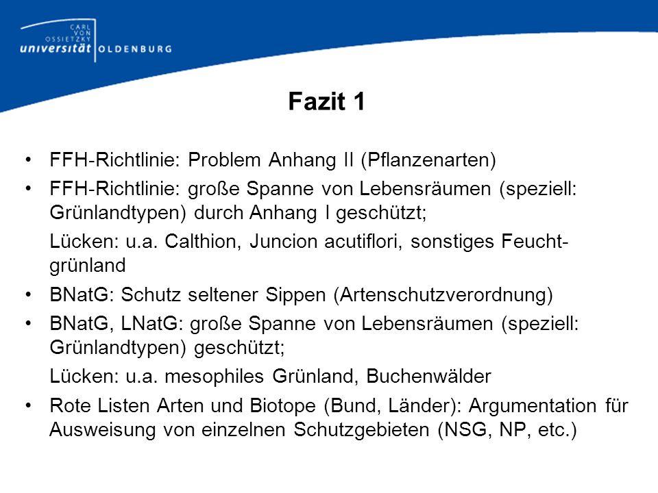 Fazit 1 FFH-Richtlinie: Problem Anhang II (Pflanzenarten)