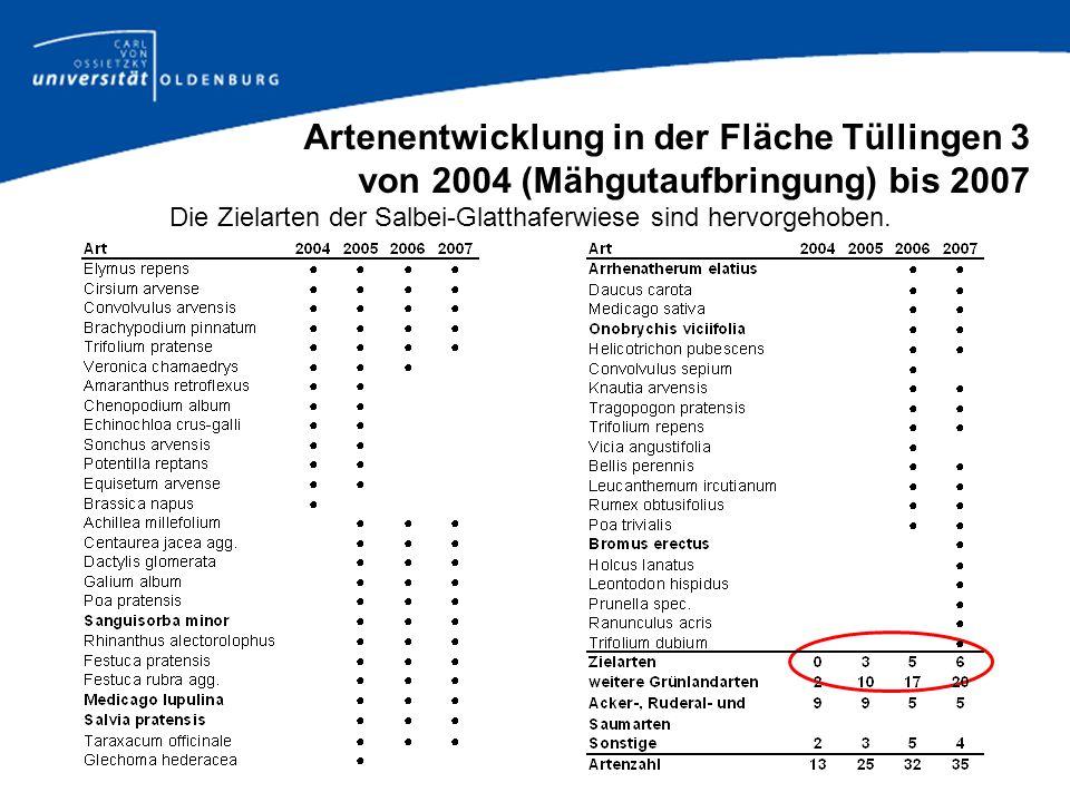 Artenentwicklung in der Fläche Tüllingen 3 von 2004 (Mähgutaufbringung) bis 2007