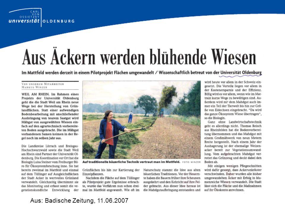 Aus: Badische Zeitung, 11.06.2007