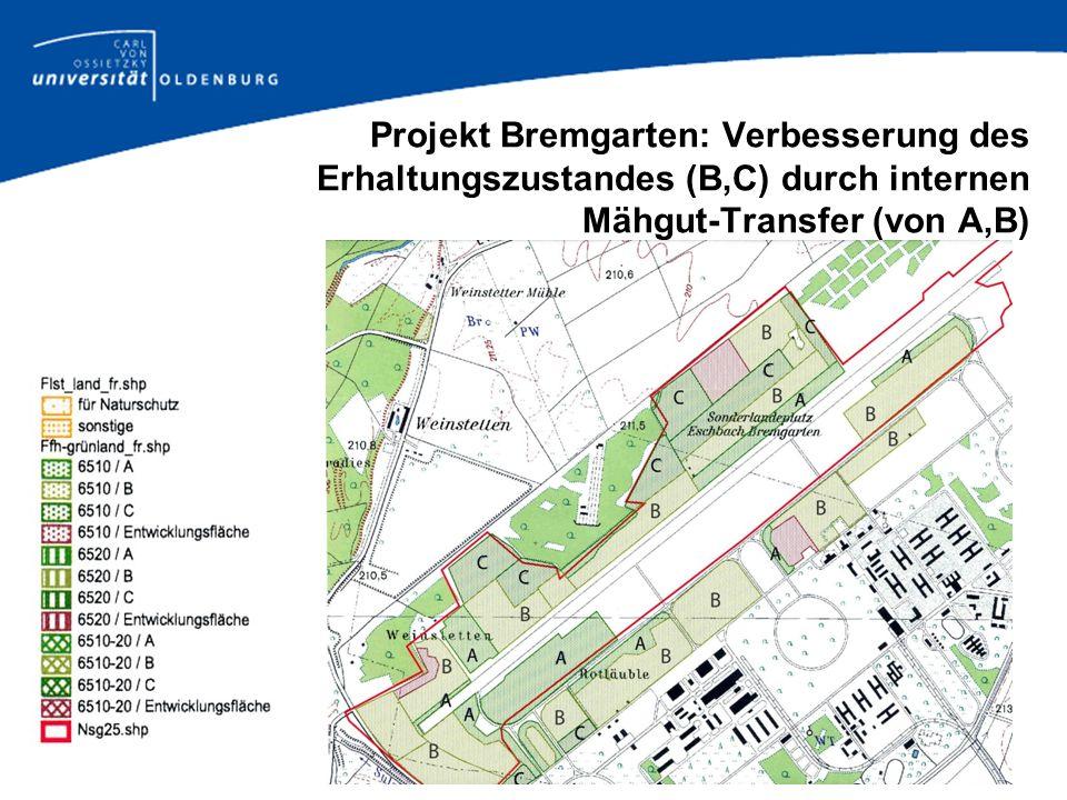Projekt Bremgarten: Verbesserung des Erhaltungszustandes (B,C) durch internen Mähgut-Transfer (von A,B)