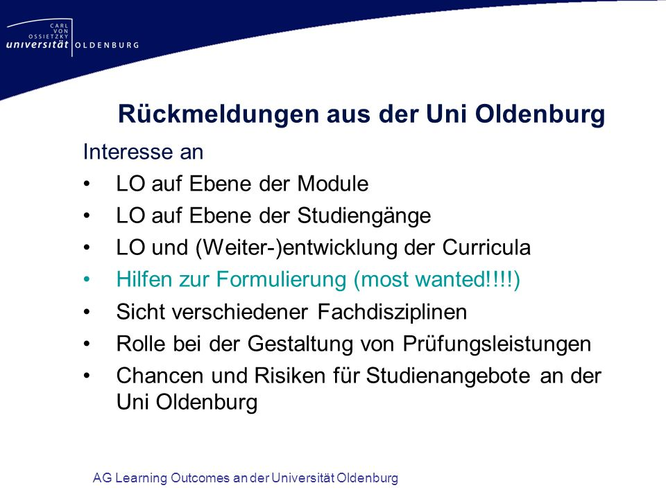 Rückmeldungen aus der Uni Oldenburg
