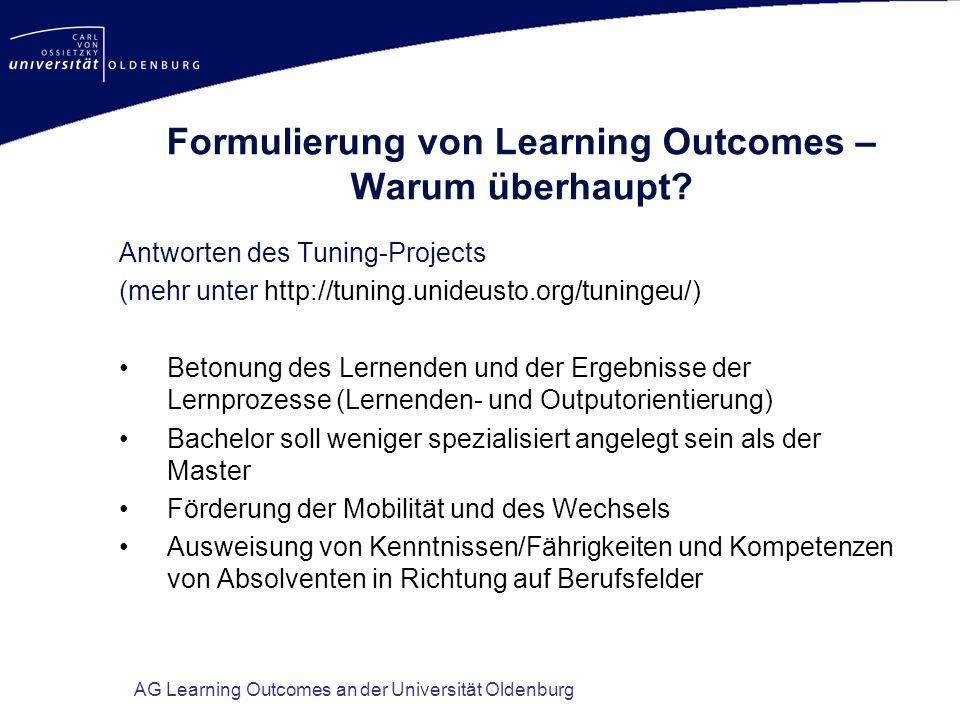 Formulierung von Learning Outcomes – Warum überhaupt
