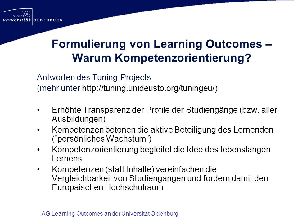 Formulierung von Learning Outcomes – Warum Kompetenzorientierung