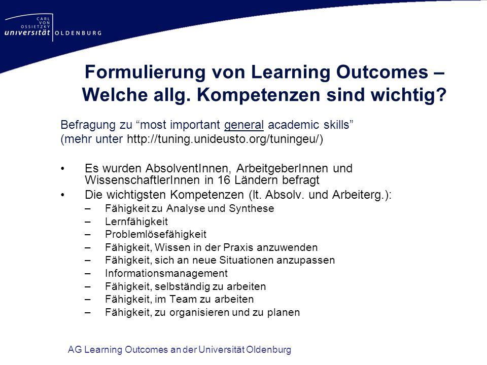 Formulierung von Learning Outcomes – Welche allg