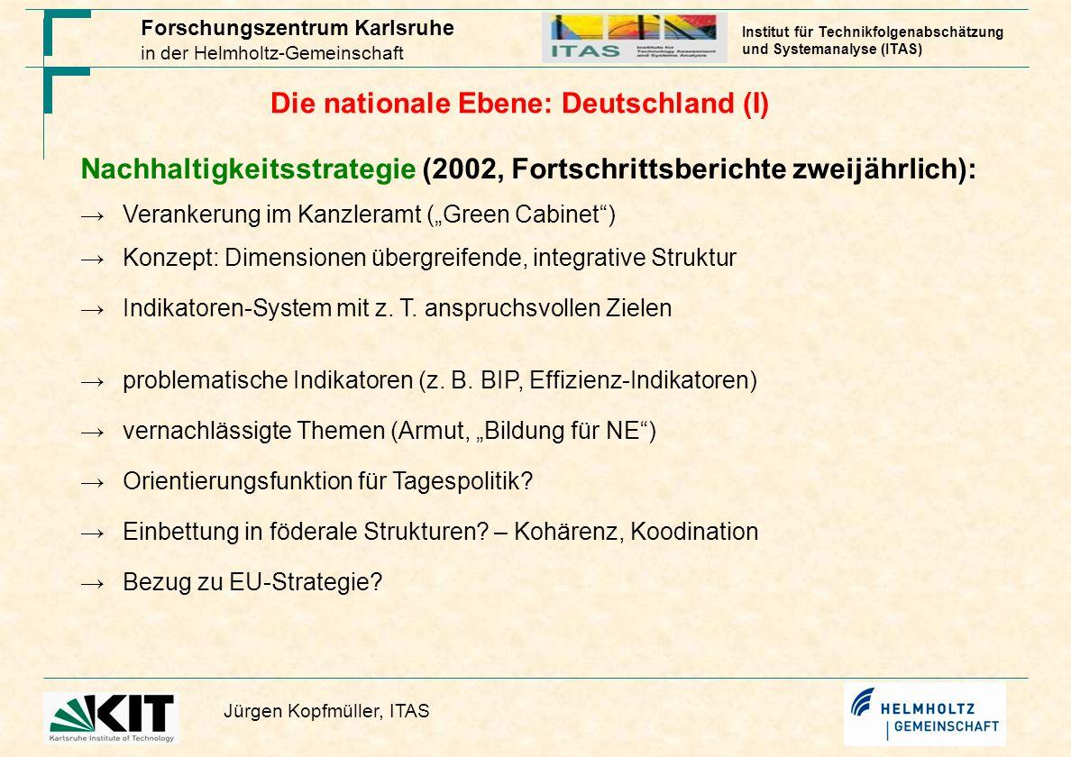 Die nationale Ebene: Deutschland (I)