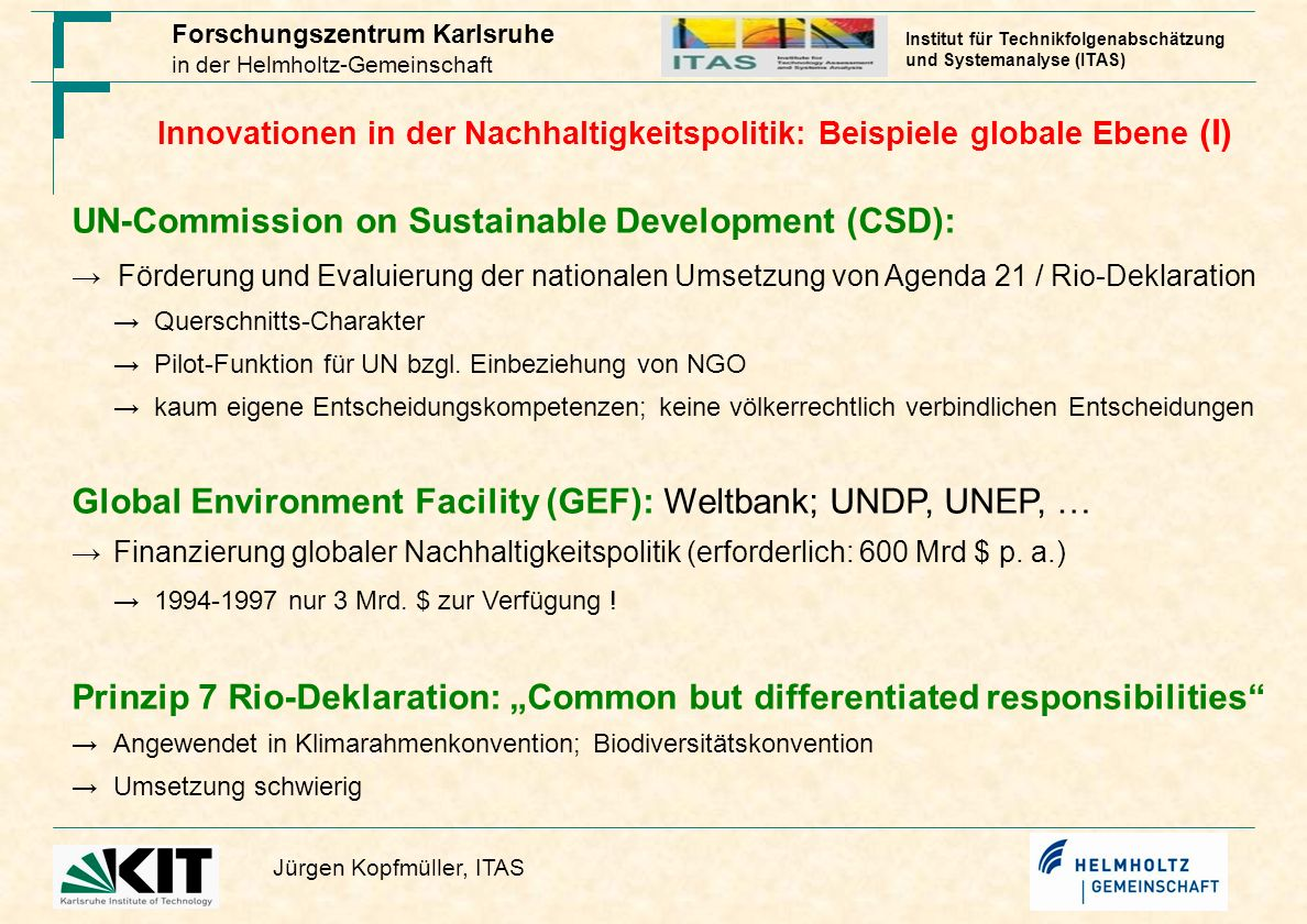UN-Commission on Sustainable Development (CSD):