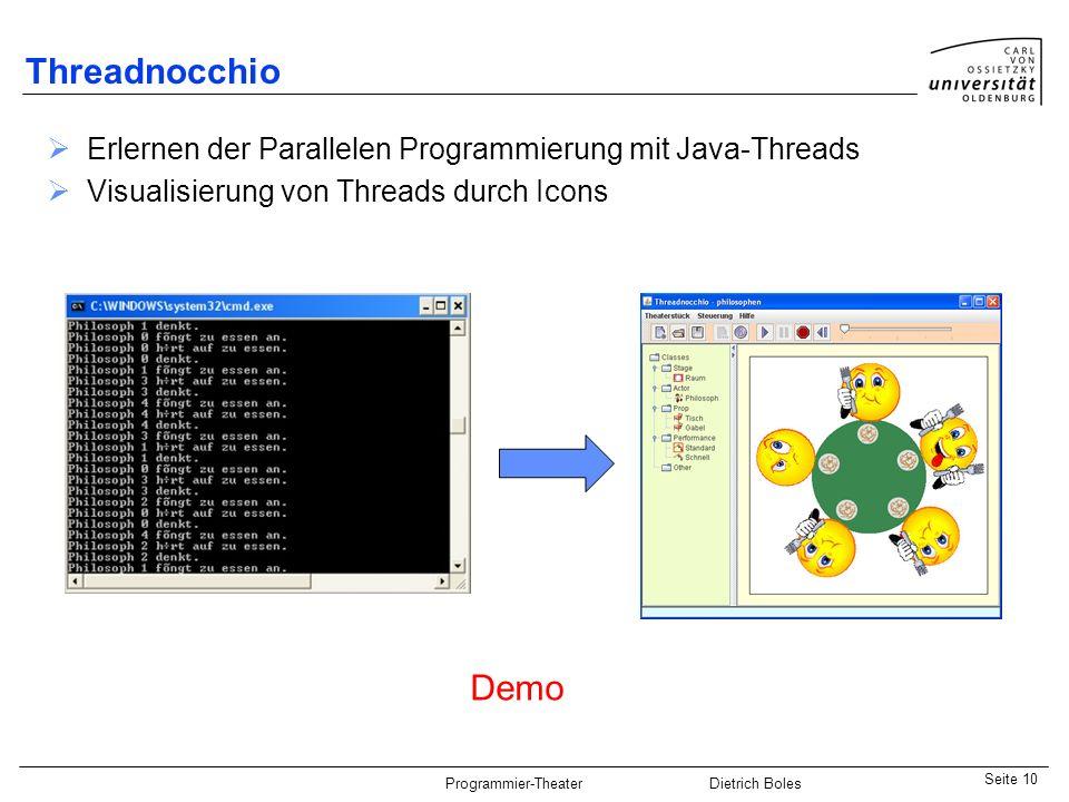 Threadnocchio Erlernen der Parallelen Programmierung mit Java-Threads. Visualisierung von Threads durch Icons.