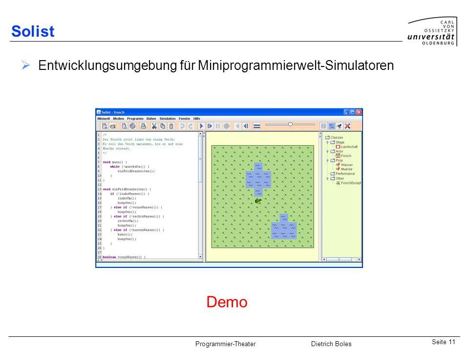 Solist Entwicklungsumgebung für Miniprogrammierwelt-Simulatoren Demo