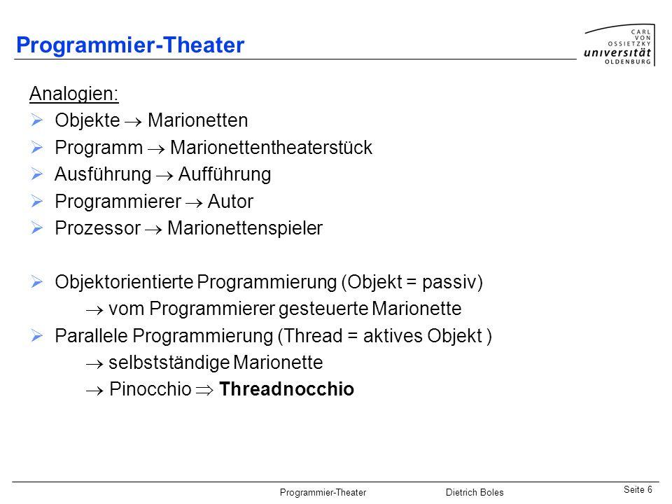 Programmier-Theater Analogien: Objekte  Marionetten