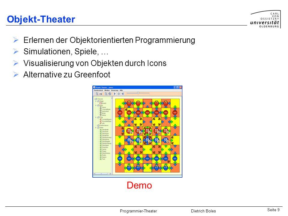 Objekt-Theater Demo Erlernen der Objektorientierten Programmierung